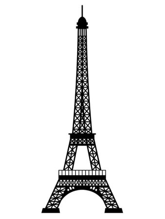 Silhouette of Eiffel Tower with mirror effect on a white background
