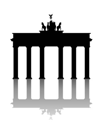 Symbol of Brandenburg gate in Berlin on a white background Ilustrace