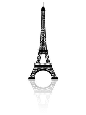 Sagoma della Torre Eiffel con effetto specchio su sfondo bianco