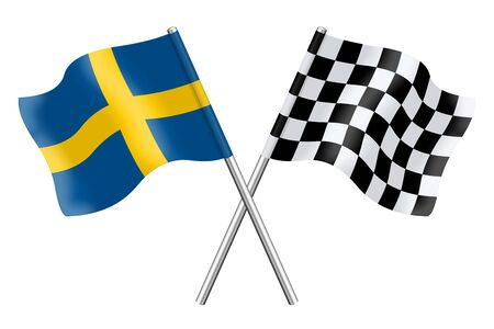 Flags of Sweden and Checkered 3D isolated on a white background