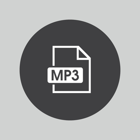 mp3: Mp3 music format icon. Musical button. Illustration