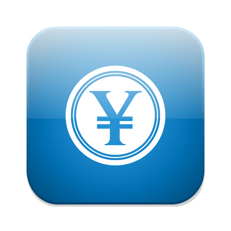 currency symbol: Yen sign icon. JPY currency symbol. Money button. Illustration