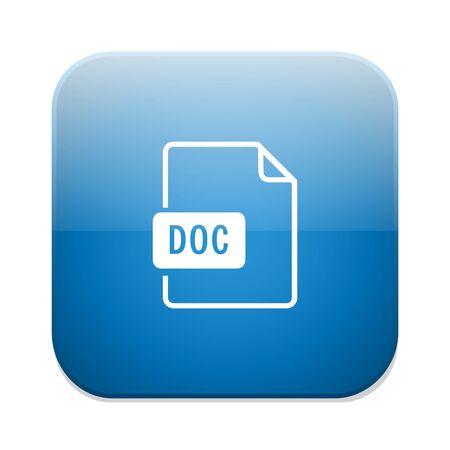 Download doc button. Doc file symbol. Illustration