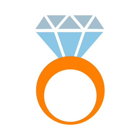 diamond Ring icon, vector engagement and wedding symbol - luxury gift illustration