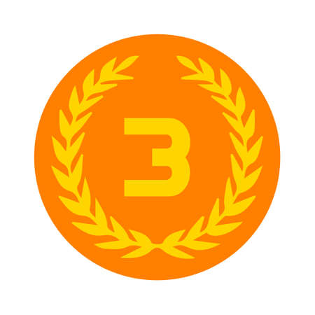Third place award icon. Prize for winner symbol.