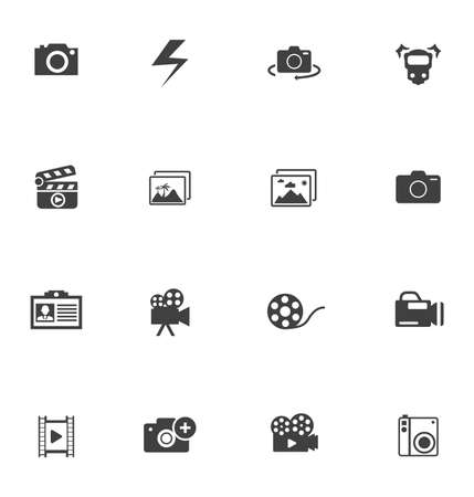 vector Photography icons set - digital photo camera equipment, digital film symbol