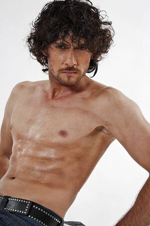 semi nude portraits of a handsome muscular man photo