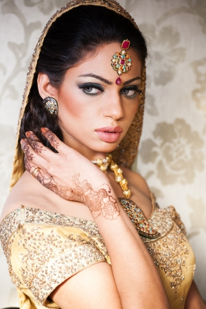 portrait of a beautiful Indian bride photo