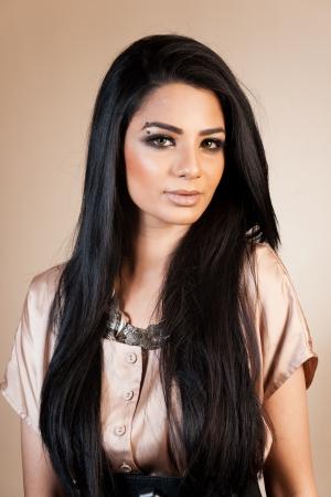 beauty shot: beauty shot of attractive mixed race female fashion model