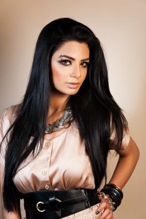 latin girls: beauty shot of attractive mixed race female fashion model