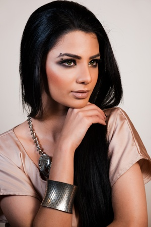 gipsy: beauty shot of attractive mixed race female fashion model