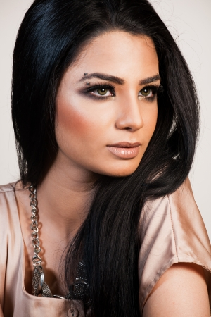 beauty shot of attractive mixed race female fashion model