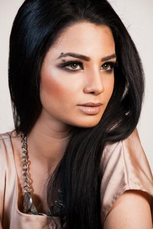 biracial: beauty shot of attractive mixed race female fashion model