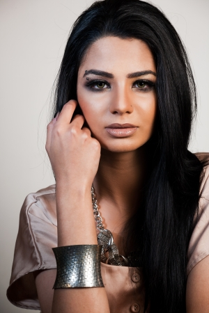 ebony: beauty shot of attractive mixed race female fashion model