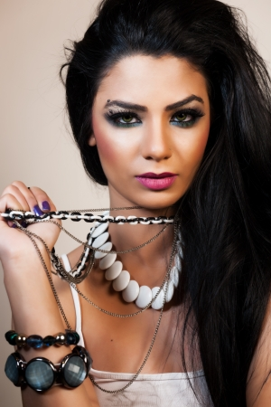 fashion jewelry: beauty portrait of an attractive Indian girl Stock Photo