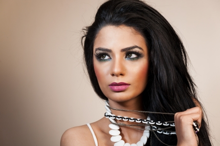 traditionally indian: female fashion model wearing jewellery