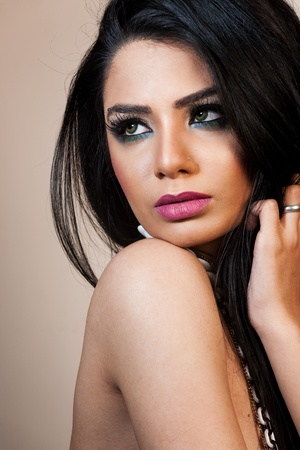 traditionally indian: beauty portrait of an attractive Indian girl Stock Photo