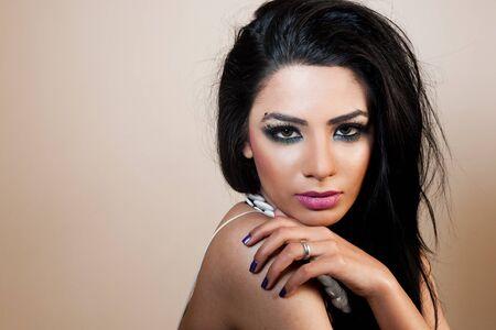 traditionally indian: female fashion model wearing jewellery