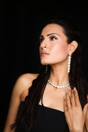 sexy indian girl: female fashion model wearing traditional Indian Jewellery Stock Photo