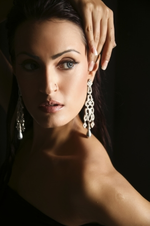 silver jewellery: female fashion model wearing traditional Indian Jewellery Stock Photo