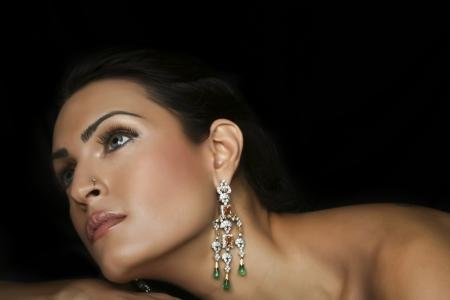 fashionable girl: female fashion model wearing traditional Indian Jewellery Stock Photo