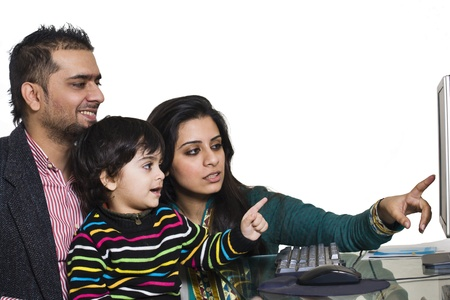 happy multi ethnic family of three enjoying together photo