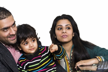 happy multi ethnic family of three enjoying together Stock Photo - 14236470