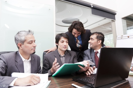 group of young multiracial businessmen in a meeting Stock Photo