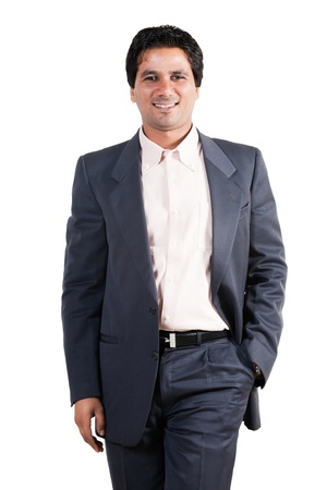 portrait of happy and confident Indian businessman, biracial businessman isolated on white photo