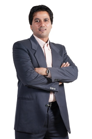 pakistani: portrait of happy and confident Indian businessman, biracial businessman isolated on white