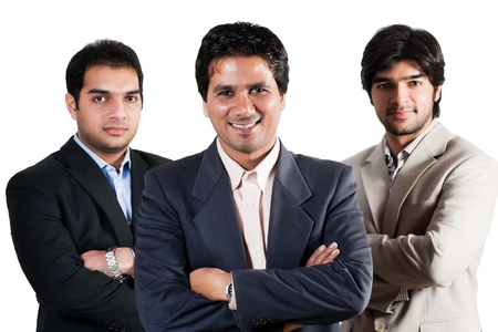 three Indian busnessmen isolated on white, team of indian businessmen with leader