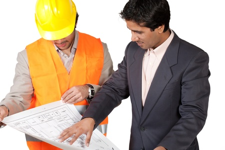 constrution: architects discussing the floor plan, architects isolated on the white