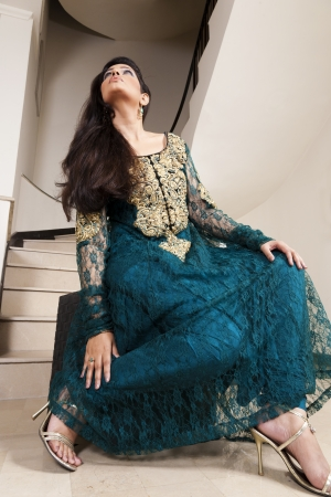 pakistani females: Attractive Indian girl with beautiful long hair, female fashion model posing for the camera
