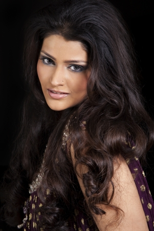 traditionally indian: Attractive Indian girl with beautiful long hair, female fashion model posing for the camera