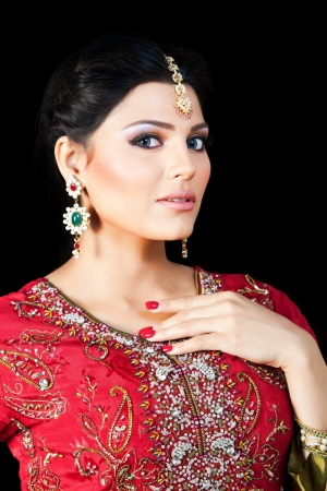 Muslim Indian bride wearing a red bridal dress, portrait of a beautiful Indian bride Stock Photo - 14431060