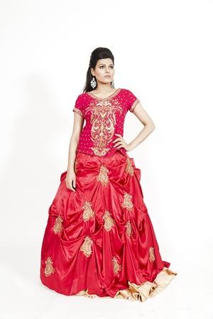 indian bride: Beautiful Indian bride wearing tradional wedding dress