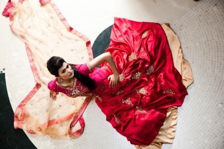 Beautiful Indian bride wearing tradional wedding dress