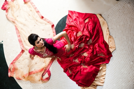 Beautiful Indian bride wearing tradional wedding dress