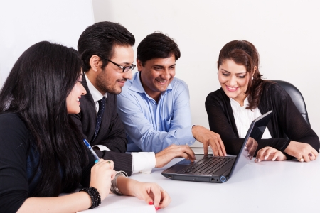 group of multi racial business people in meeting, Inidan business woman in meeting with young businessmen  photo