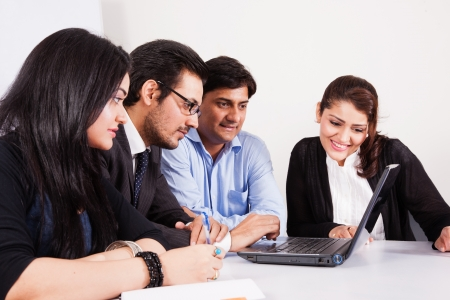 group of multi racial business people in meeting photo