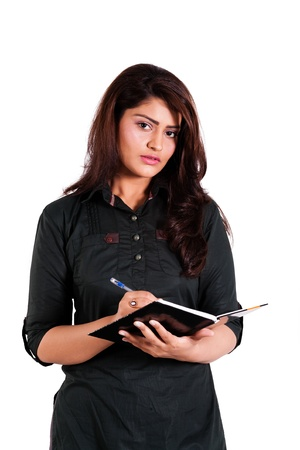 confident indian businesswoman holding note book Stock Photo