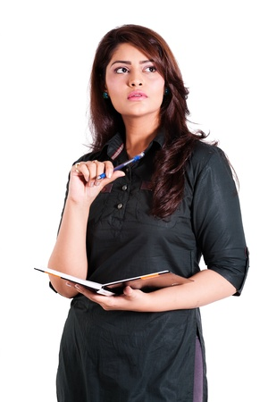 confident indian businesswoman holding note book Stock Photo - 14788477