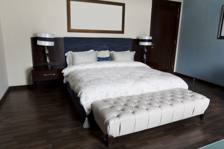 modern bedroom of a hotel or an apartment photo
