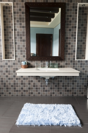 modern bathroom with white wash basin photo