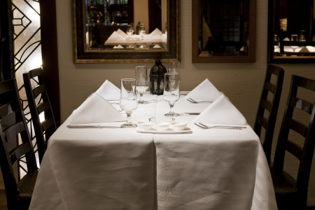 decore: close of a dining table in a restaurant with white napkins and wine glasses.