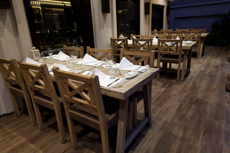 dinning set up in a vitage restaurant. photo