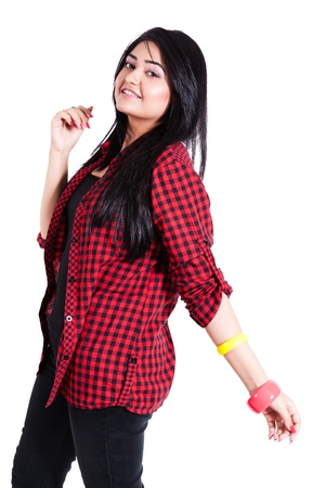 decent: Happy teenage girl wearing colorful clothes and posing for the camera, happy asian teenage girl isolated on white Stock Photo