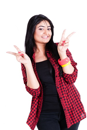 cool attitude: Happy teenage girl wearing colorful clothes and posing for the camera, happy asian teenage girl isolated on white Stock Photo