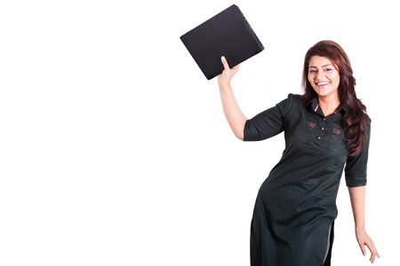 happy woman holding new laptop in excitement isolated on white with copy space photo