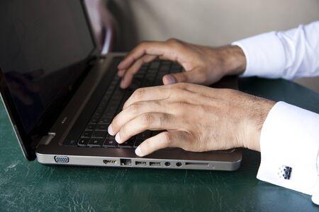 key punching: close up of a businessman Stock Photo